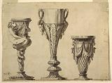 Design for a Candlestick, Cup, and Vase