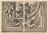 """Sheet with Two Designs for Ceiling Decorations, from """"Plafons à la Romaine"""""""