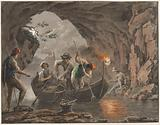 Water colour. Night Fishing at the Entrance to a Cave.