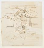 Two Studies of Women Watching the Launching of Dories, Cullercoats, England