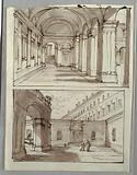 Two Designs for Portico and Court of Palace