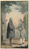 Two Gentleman Conversing in a Park