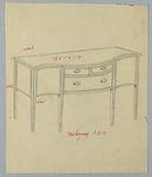 Design for Sideboard with Serpentine Front and Three Drawers
