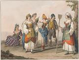 Water colour. Costumes of South Calabria.