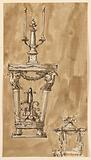 Design for a Console Table with Candlestick and a Bed