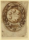 Page of a drawing book. Two designs for a coat of arms of Ferdinand I of Toscana.
