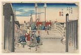 Nihon Bridge, Morning View, Nihonbashi, in The Fifty-Three Stations of the Tokaido Road (Tokaido Gojusan Tsugi-no Uchi)