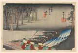Tsuchi-yama, Spring Rain, in The Fifty-Three Stations of the Tokaido Road (Tokaido Gojusan Tsugi-no Uchi)
