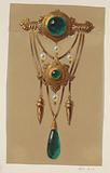 Design for a Gold and Cabochon Gem Brooch