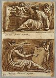 Two drawings of Sybils and Two Putti