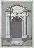 Design for a door with arched pediment