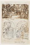 """Dance of Salome. Verso, above: Daniel's interpretation of the second dream of King Nebuchadnezzar, preliminary design for """"Spiritus Consilii"""" (The Spirit of Counsel), in """"The Seven Gifts of the Holy Spirit"""" print series."""