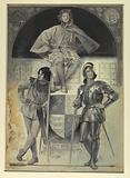 """Pages and Knights, Frontispiece for """"The Man at Arms"""""""