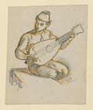 Seated boy playing a lute