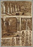 Sketchbook Page: Atrium, San Pietro, Bologna and Detail from San Pietro. Detail from S Michele in Bosco.