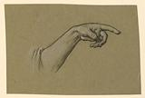 Pointing left hand, wrist, forearm to beginning of sleeve