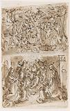 Recto, above: Young St John the Baptist guided by Angels in the Desert. Recto, below: Sacra Conversazione with Sts.