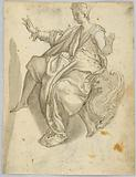 Drawing: A) Personification of charity, B) A terrified woman