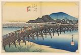 Okazaki, Tenshin Bridge, in The Fifty-Three Stations of the Tokaido Road (Tokaido Gojusan Tsugi-no Uchi)