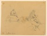 Two Sketches of a Man Seated on Rocks in San Remo