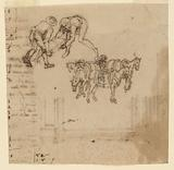 Drawing: A) Two men carrying a trunk; four mules with a driver. B) Project for a frame