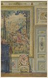 Section of a wall showing portion of Flemish tapestry, Tapestry room, Palace of Fontainebleau, France