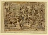 """The Invention of Gunpowder, design for """"Pulvis Pyrius,"""""""