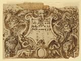 Recto: preliminary design for title page for the print series Venationes Ferarum Arium Piscium