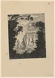 Tombeau monumental avec urne funéraire au premier plan