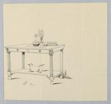 Design for Serving Table with Columnar Front Legs and Two Drawers