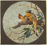 Plate Design with Pair of Exotic Birds on a Blossoming Branch