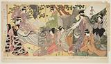 Kabuki players as the Eight Sennin (Triptych)
