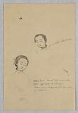 """Sketch of Two Female Heads for Chinese Figure in """"The Marriage of the Atlantic and Pacific,"""" Mural in the Wisconsin State Capitol, Madison, WI"""