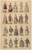 Design for a Print with Twenty Theatrical Costumes Worn in Paris Performances