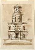 Elevation of a Building with a Tower