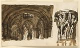 Stage Design for the Interior of a Vaulted Hall and a Capital
