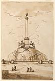 Design for a Fountain used by Paolo Emilio Barberi as Competition Entry in the 1975 Concorso Clementino, Rome (Accademia di San Luca)