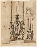 Recto: candlesticks. Verso: mausoleum in a church-like hall.