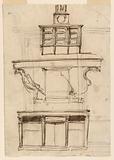 Cupboard, table, writing desk