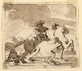 Two Equestrian Figures with Figure on Ground
