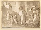Urban Scene with Draped Figure, Putti, and Woman Carrying Basket