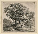 Two Rustics Seated on a Bank Near Three Trees