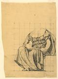 """Drapery Study for """"The Active Life,"""" Lunette in the Administration Building, Oberlin College, Oberlin, OH"""
