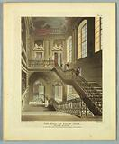 """The Hall and Staircase, British Museum, from """"Ackermann's Repository"""""""