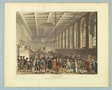 """The Long Room, Custom House, from """"Ackermann's Repository"""""""