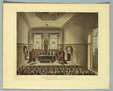 """Lottery Drawing: Coopers Hall, from """"Ackermann's Repository"""""""