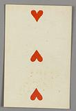 """Three of Hearts from Set of """"Jeu Imperial–Second Empire–Napoleon III"""" Playing Cards"""