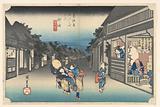 Goyu, Women Detaining Travelers, in The Fifty-Three Stations of the Tokaido Road (Tokaido Gojusan Tsugi-no Uchi)
