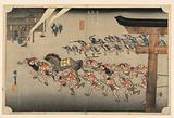 Miya (Atsuta Jiuji Temple Fete), in The Fifty-Three Stations of the Tokaido Road (Tokaido Gojusan Tsugi-no Uchi)