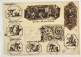 """Design for Various Decorations including """"Coriolanus at the Walls of Rome"""""""